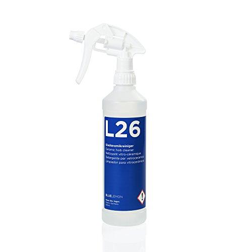 Profi Glaskeramikreiniger 500ml L26 von BLUELEMON | Biologisch | 90545 | Spezialreiniger mit Aktivschaum zum Reinigen von Ceran- und Kochfeldern