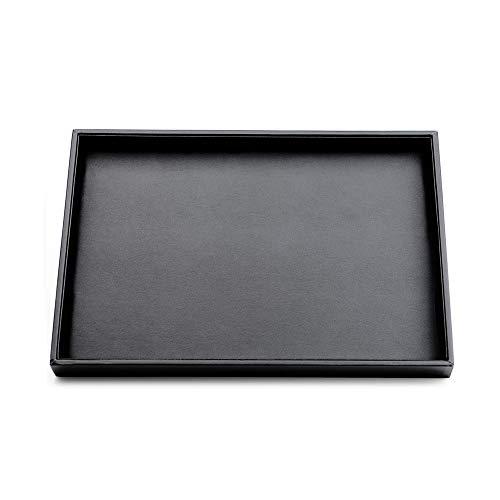 Oirlv Schwarz PU Leder Schmuck Palette Halskette Display Tablett mit MDF für Ringe Halter Schmuck Organizer (flache Fach) -