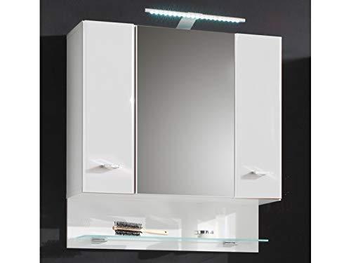 """Spiegelschrank Badschrank Wandschrank Spiegel Hängeschrank Badmöbel""""Barnsley I"""" Weiß/Weiß-Hochglanz"""