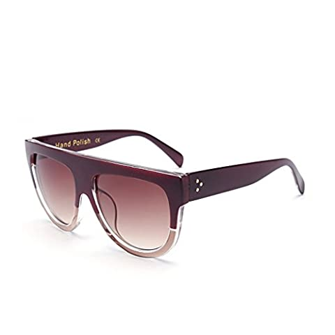 Hmilydyk Femme Mode populaire CatEye Lunettes de soleil classique design rétro Full Frame UV400Surdimensionnés Lunettes de natation, Black Frame Brown Lens