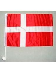 Autofahne Dänemark ca. 30 x 45 cm mit Stab zur Befestigung an der Autoscheibe von profimaterial