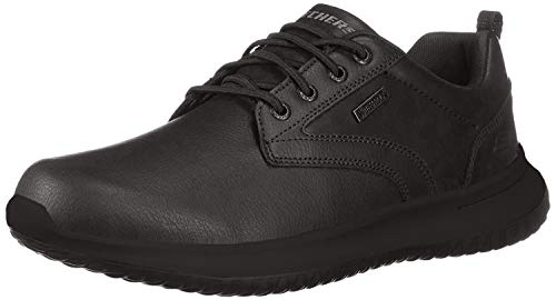 Skechers Men's Delson-Antigo Trainers, Black Black Leather Bbk, 9 UK 43 EU