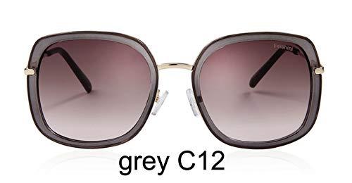 LKVNHP Festival uv400 Gold gradienten Platz Sonnenbrille Damen Spiegel Mode hohe qualität Anti-reflektierendeFrauen Sonnenbrille wtyj195 grau c12