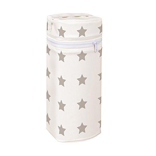 Asmi Thermobox Warmhaltebox Sterne für Standart und Weithalsflasche (Creme + Sterne Taupe)