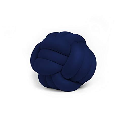 Homemania Cuscino Decorativo Knot Intrecciato Colore Blu Indaco Realizzato a Mano, Morbido, Decorativo, Multifunzionale, in Velluto.