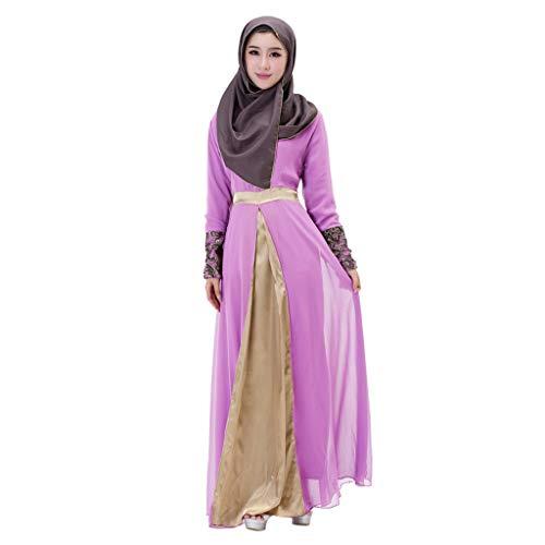 Daringjourney Damen langes Maxi-Kleid Dubai Patchwork Kleid Islam Abaya moslemische Kleidung