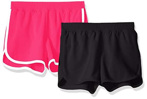 Amazon Essentials Mädchen-Shorts, Active Wear, 2er-Pack, Black/Raspberry, US L (EU 134-140 CM)