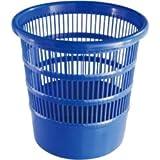 Teko Papierkorb aus Kunststoff, rund, perforiert, 24 cm, Blau, Einheitsgröße