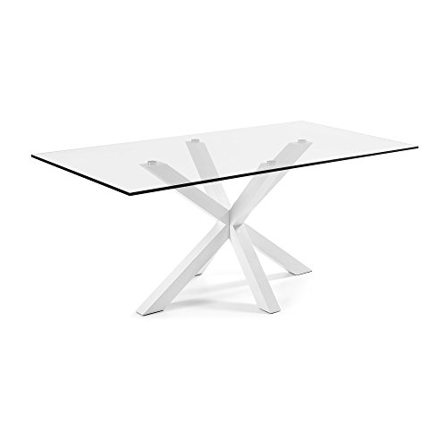 Kave Home Table Argo, epoxy blanco et verre transparent