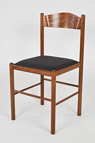 Tommychairs - set 1 sedia classica pisa 38 per cucina, bar e sala da pranzo, robusta struttura in legno di faggio verniciata color noce chiaro e seduta imbottita e rivestita in ecopelle color nero