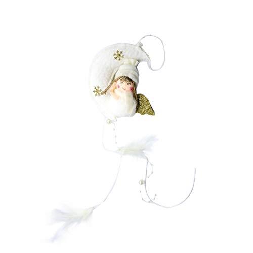Engel Schnee Mädchen Kostüm - WOBANG Weihnachten Deko - Christmas Weihnachtsbaum Weihnachten Dekoration Weihnachtsverzierung Mond Mädchen Engel Puppe Anhänger Stoffplüsch Christbaumschmuck (Gold)