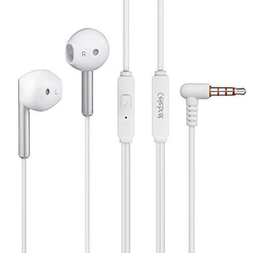 Celebrat In-Ear-Kopfhörer Ohrhörer, Geräuschisolation, austauschbare Ohrhörer für iPhone, iPad, iPod, Samsung Huawei und MP3 Player (mit Mikrofon) (G6) - Silber Iphone Ipod Nano Mp3