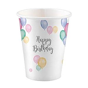 amscan 9903710 Happy Birthday - Juego de 8 Tazas de Desayuno
