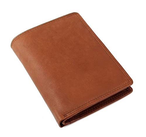Schlichte Geldbörse aus echtem Nappa Leder mit RFID Schutz, 15 Kartenfächern und Münzfach im Hochformat, Schwarz -