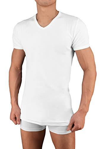57db511e282656 Tutku 2er | 4er Pack Herren Business Unterhemd mit Ärmel Kurzarm  V-Ausschnitt Weiß Schwarz