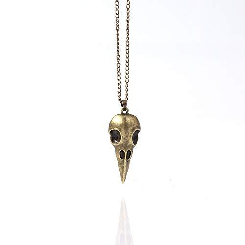 MYJ Punk Stereo Metall Crow Skull Anhänger Halskette/Halloween Halskette Schmuck,Bronze,A