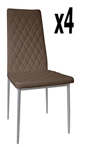 Lot de 4 chaises longues de salon Marron/Gris, 500 x 415 x 950 mm -PEGANE-