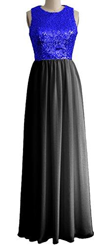 MACloth - Robe - Trapèze - Sans Manche - Femme Bleu - Royal Blue-Black
