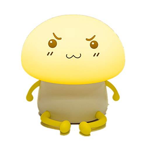 Pilze Nachtlicht-Cute Pet Q Child Silicone Led Bedroom Atmosphere Night Light Cartoon Usb Charging Mushroom Bedside Lamp (Gelb)