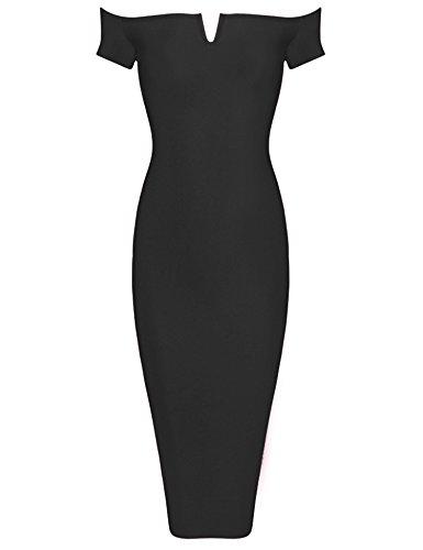 Meilun Les Femmes En Robe Bustier Épaule Bandage Au Genou Noir