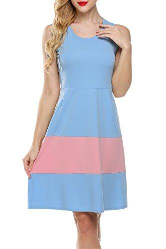Zeagoo Damen Elegant Rundhals Cocktailkleid Etuikleid Kleid in Scubaoptik Partykleid mit weitem Rock