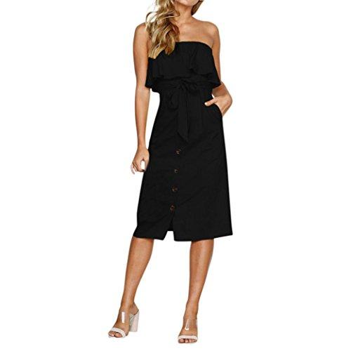 Hevoiok-Kleid Sommerkleider Damen,Hevoiok Casual Neue Mode Sexy Rüschen Gürtel Krause Strandkleid Partykleid Frauen Elegant Schulterfrei Midikleid (Schwarzer, M)