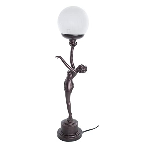 Art deco nora standing lady holding arm up crackle ball shade lamp