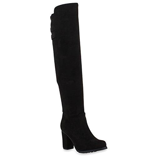 Stiefelparadies Mujer botín Zapatos sobre la Rodilla con Forro Ligero 108006 Negro 37 Flandell
