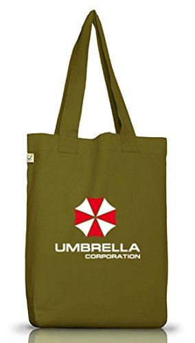 Shirtstreet24, Umbrella Corporation, Jutebeutel Stoff Tasche Earth Positive Leaf Green