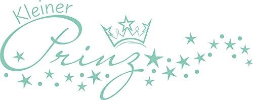 Preisvergleich Produktbild Graz Design Wandtattoo Aufkleber mit Swarovski für Kinderzimmer Schriftzug Kleiner Prinz (101x40cm // 055 mint // Swarovski Elements Set 12 Stück)