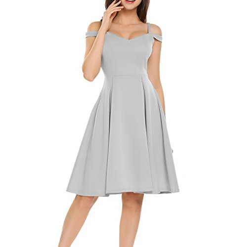 Meaneor Damen Retro Cold Shoulder Kleid V-Ausschnitt Skaterkleid A-linie Cocktailkleid Vintage Schwingen Sommerkleid Grau