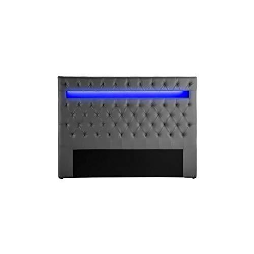 Générique Celeste Tete de lit Style Contemporain avec LED - Simili Gris - l 170 cm