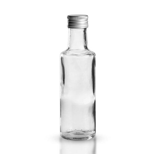 5 x Likörflasche rund 100ml - Klarglas - Öffnung 24 mm - inkl. Aluminium-Schraubverschluss (silber) mit Dichtungsscheibe / Schnapsflasche / Ölflasche / Essigflasche / Probenflasche / Likörflaschen / Schnapsflaschen / Ölflaschen / Essigflaschen / Probenflaschen
