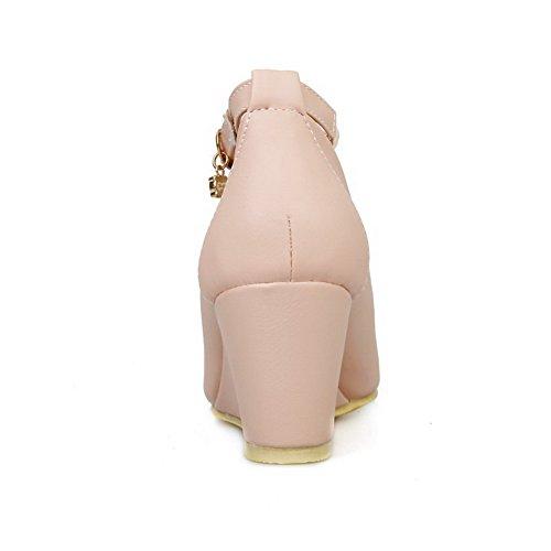 VogueZone009 Femme Couleur Unie Pu Cuir à Talon Correct Fermeture D'Orteil Rond Boucle Chaussures Légeres Rose