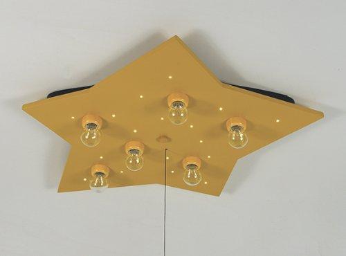 Niermann Standby 629 Deckenleuchte Stern XXL, gelb, inklusive Leuchtmittel: 6 x E14 max.40 Watt + 20 Lichtpunkte, 54 x 74 x 8 cm, Schlummerlichtfunktion über Zugschalter, Made in Germany