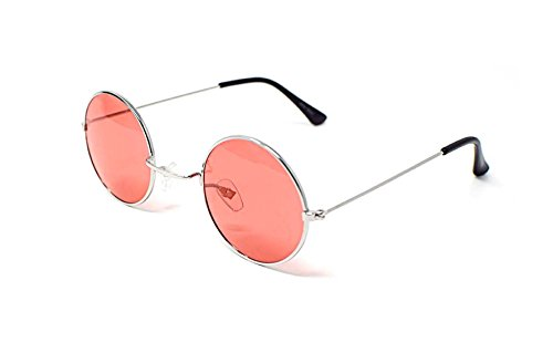 UltraByEasyPeasyStore Silber Rahmen mit Rot Linsen Klein Stil John Lennon Sonnenbrille Erwachsene Männer Frauen Retro Runde UV400 Elton Vintage Brille Unisex