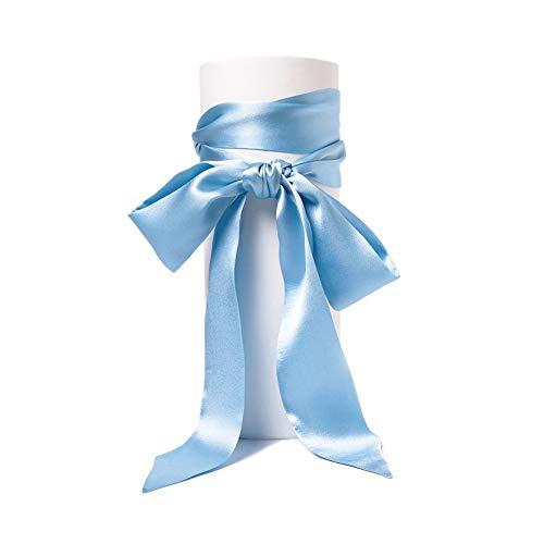 Satin-Schärpe Gürtel Damen Hochzeit Bogen Band Schal Krawatte (Blau)