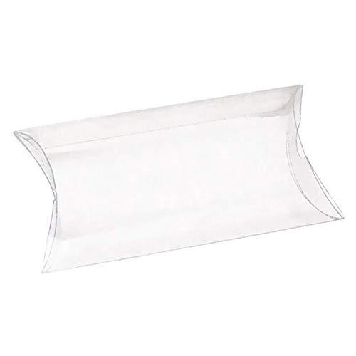Vetrineinrete® scatoline portaconfetti a cuscino in pvc trasparente 48 pezzi bricolage tubo fai da te per matrimonio comunione battesimo e compleanno confetti e caramelle (6x12 cm) d55