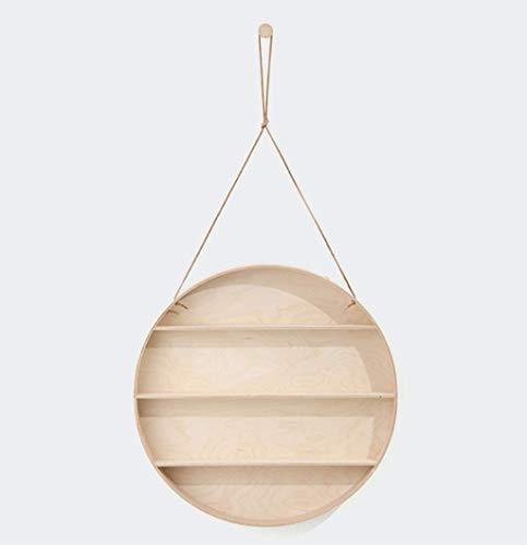 Nordic Einfaches rundes Holzregal im rustikalen Stil Wandmontiertes Holzregalregal mit 4 Haken Organizer Home Dekoration für Bar Bücher Pflanzen Küche, 59 * 59 * 10 cm