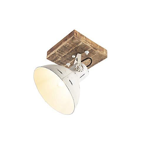 QAZQA Industrie/Industrial IndustrieSpot/Spotlight/Deckenspot/Deckenstrahler/Strahler/Lampe/Leuchte weiß mit Mangoholz 30 cm - Mangos/Innenbeleuchtung/Wohnzimmerlampe/Schlafzimmer