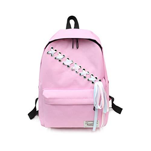MUTANG Mode Woven Canvas Rucksack Trend Wild College Wind Rucksack Gymnasiast Tasche Mit Daypack (Farbe : Pink) (Nike Rucksack Damen Pink)