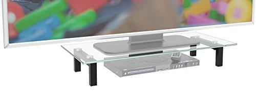 """RICOO TV Ständer Monitorständer Bildschirmständer Podest FS6028C Universal Standfuß Fernsehständer LCD QLED QE 4K LED OLED IPS SUHD UHD 3D Curved/ 76cm/30"""" - 107/42"""" Zoll / Klarglas"""