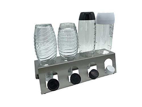 Abtropfhalter 4.1 aus Edelstahl für z.B. Sodastream Crystal/Source / Fuse/Easy / Cool / 0,6l Emil Flaschen Flaschenhalter Abtropfgestell