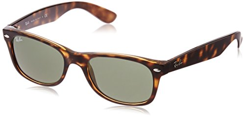 Ray Ban Unisex Sonnenbrille New Wayfarer Tortoise , Gr.52mm (Gestell:  Braun, Havanna; Gläser: kristall grün)