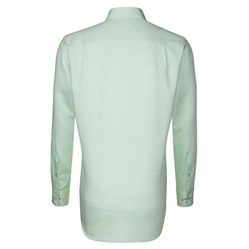 Seidensticker Herren Langarm Hemd Splendesto Regular Fit Button-Down-Kragen grün strukturiert mit Patch 189852.72 Grün