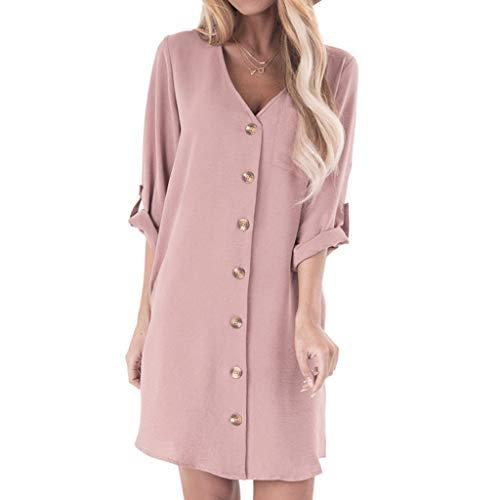 Hochwertige und einzigartige Damenbekleidung, Damen einfarbig Knopfleiste langes Minikleid Prinzessinkleid WUDUBE-Fachgeschäft