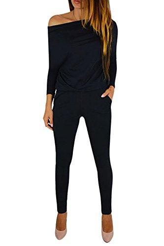 YOINS Jumpsuit Damen Elegant Langarmshirt Damen Overall Off Shoulder Strand Romper Lang Einfarbig