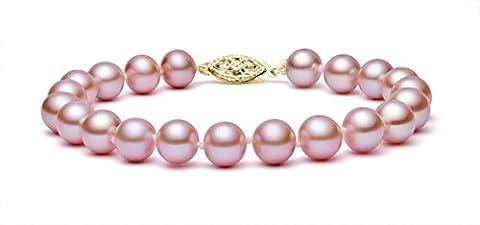 14K Or Rose Bracelet Perle de culture d'eau douce de qualité AAA, 17,8cm