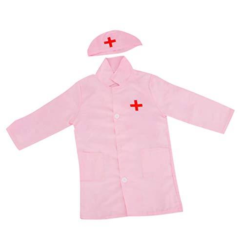 play Kostüm Krankenschwester Arzt Rolle Langarm Kleidung Mit Kappe - Pink ()
