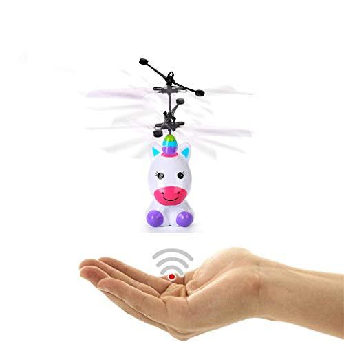 Igemy Mini RC Infrarot Induktionsspielzeug für Kindergeschenke Fliegender Roboter Blinklicht (Weiß)